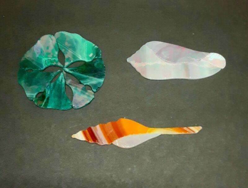 3 Precut Stained Glass Art Kit Sea Shells Mosaic Inlay Garden Stone Sea Scape