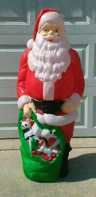 """Vintage Empire 46"""" Large Christmas blow mold Santa Claus with his sack of toys"""
