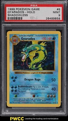 1999 Pokemon Base Set Shadowless Holo Gyarados #6 PSA 9 MINT