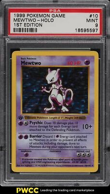 1999 Pokemon Base Set 1st Edition Shadowless Holo Mewtwo #10 PSA 9 MINT