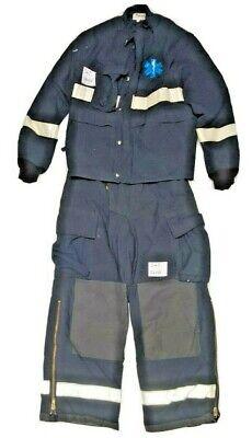 Quaker Lakeland Blue Firefighter Medic Turnout Set Jacket 38x35 Pants 36x30 S67