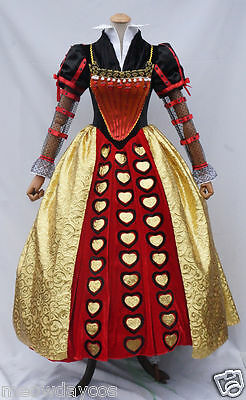Alice in Wonderland 2 Red Queen of Hearts Adult Costume Deluxe Halloween Dress