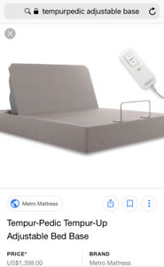 Price dropped - Queen Tempur-Pedic bed base w/ adjustable head