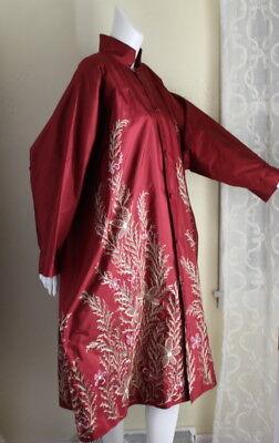 New Eskandar Sz 2 Rich Silk Red Floral Embroidered Dress Coat Jacket (2X/3X/4X) Floral Silk Coat