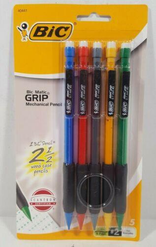 Bic Matic Grip 5-Pack Mechanical Pencils 0.7 mm Medium # 2 Rubber Grip
