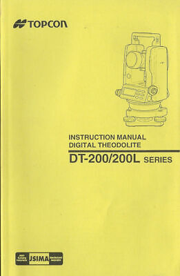 Topcon Instruction Manual Digital Theodolite Dt-200200l Series