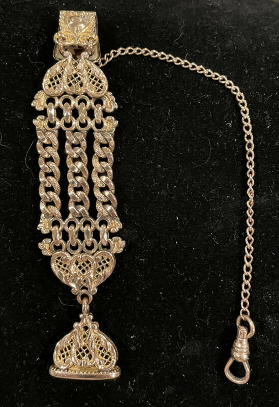 Antique Gold Filled Pocket Watch Chain and Fob, inscribed 1912