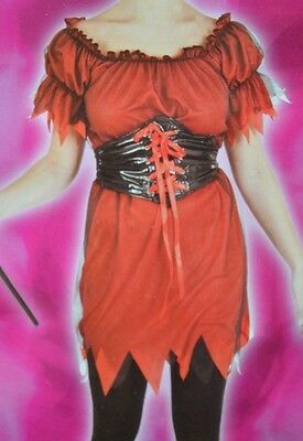 Cute Halloween Costumes Uk (Red Black Cute Devil Fancy Dress Costume Festival Medieval Wench UK 8 10 12 S)