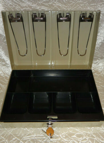 Metal Cash Box with Money Tray and Key