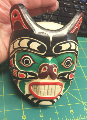 Wood Tribal Style Wolf Mask - hand carved and hand painted - beautiful!