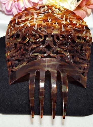 Vintage Estate Large Spanish Mantilla Peineta Ladies Faux Tortoise Hair Comb