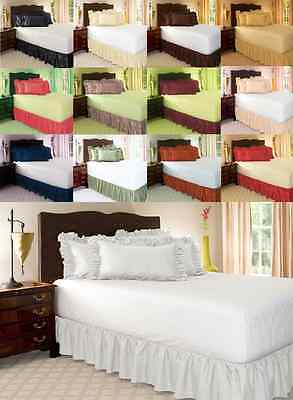 14 INCH DROP SOLID EASY FIT SET UP AROUND ALL CORNERS 1 PC BED SKIRT TWIN SIZE