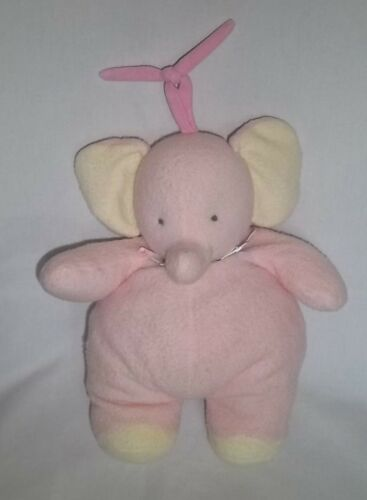 CARTERS TYKES Plush PINK ELEPHANT CRIB PULL String Musical Yellow Ears Feet Baby