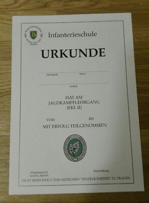URKUNDE Einzelkämpfer Leistungslehrgang EK 2 Bundeswehr Infanterieschule