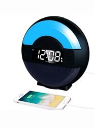 SVINZ Dual Alarm Clock Radio with Bluetooth Speaker and USB Charging Port for Be
