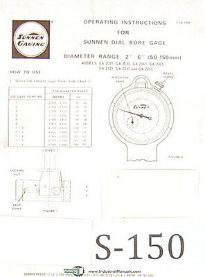 Sunnen Dial Bore Gages Ga 2000 Series Operations Instructions Manual
