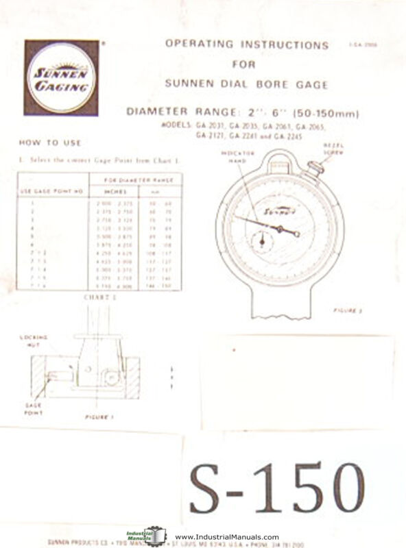 Sunnen Dial Bore Gages, GA 2000 Series, Operations Instructions Manual