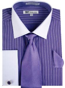 Men 39 s stylish striped dress shirt tie hanky french cuff for Purple french cuff dress shirt