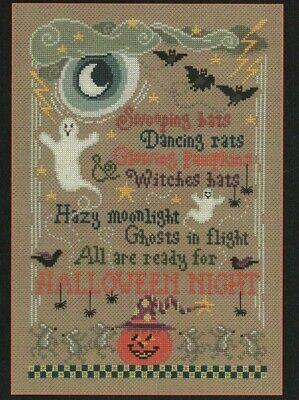 Bat Poems Halloween (HALLOWEEN NIGHT--Poem--Ghost--Bats--Rats--Pumpkin--Counted Cross Stitch)