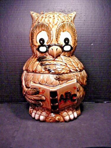 Wise Owl ABC Cookie Jar Teacher w/ Glasses Book & Pencil Vintage Japan