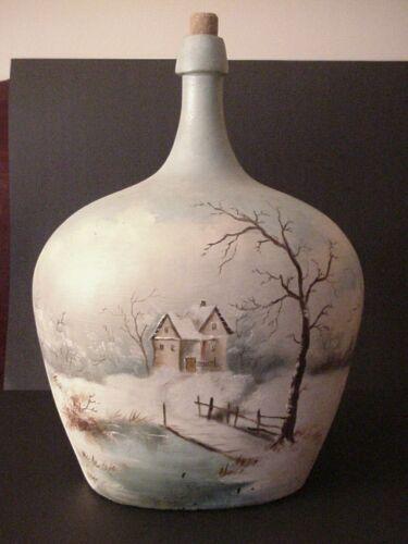 Huge Hand Blown Aqua Blob Top Demijohn Oval Bottle ~ 2 Hand Painted Scenes