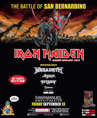 "IRON MAIDEN ""BATTLE OF SAN BERNARDINO MAIDEN ENGLAND 2013"" CONCERT TOUR POSTER"