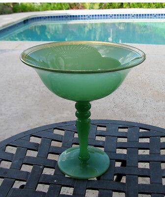 SCARCE Northwood Jade Green Tall Glass Compote #705 circa 1924