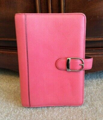 Day-timer Compactportable 1 Pink Leather Snap Planner Binder Franklin Covey
