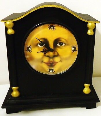ITs HALLOWEEN TIME OOAK Hand Painted WOOD CLOCK Moon Face Ghosts Cats Working (Halloween Moon Faces)