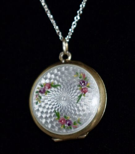 RARE Sterling Antique **PEARL GREY** Dbl Sided ENAMEL GUILLOCHE Locket Necklace