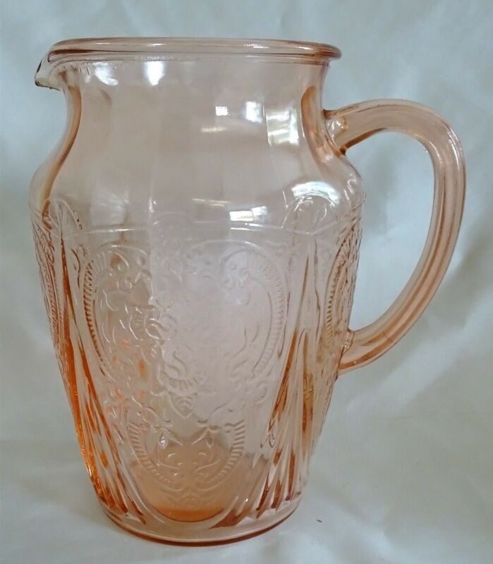 Hazel Atlas USA Royal Lace Pink 64oz Pitcher 8 1/4""