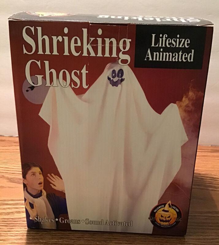 Vintage 1993 Gemmy Shrieking Shaking White Hanging Ghost Animated Halloween Deco
