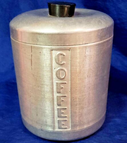 1950's Spun Aluminum Silver Coffee Kitchen Container Canister Jar MCM Vintage