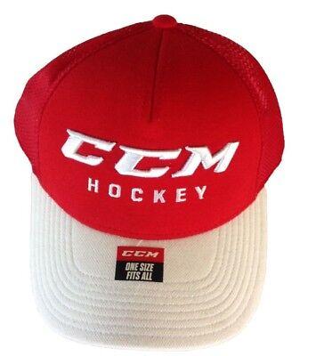 6b90cde4f28 CCM HOCKEY SENIOR ADULT RED WHITE ADJUSTABLE CAP HAT OSFM