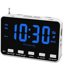 DreamSky Radio Alarm Clock for Bedroom - Small Digital Clock with USB Port,...