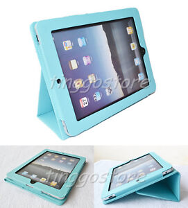 New PU Leather Case For Apple iPad 1st Case ipad 1 Cover w/Stand Holder Sky Blue