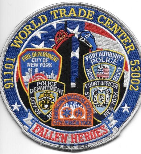 "9-11-01 Tribute - W.T.C.  Fallen Heroes - Blue  (5"" round size)  fire patch"