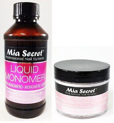 Mia Secret Liquid Monomer 4 oz and Multibalance Natural Pink Acrylic Powder 2 oz