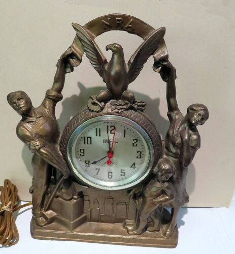 Vintage 1930s Windsor Cast Metal NRA Clock (National Recovery Agency) Works