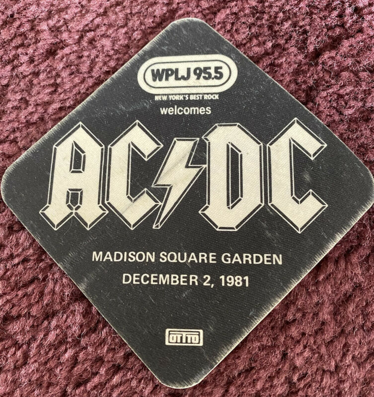 AC/DC 1981 Madison Square Garden promotional pass given out at the show! Rare!