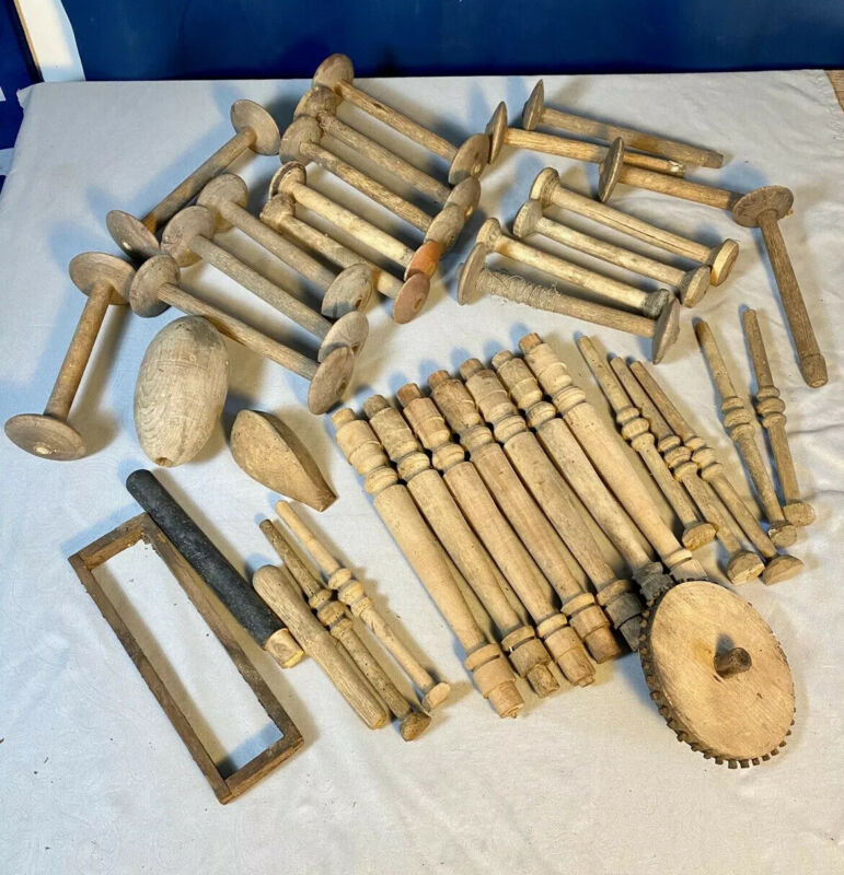 38 Piece Lot of Wood Spools, Textile Wood Pcs ~  Artist, CrafterJunk Drawer Lot