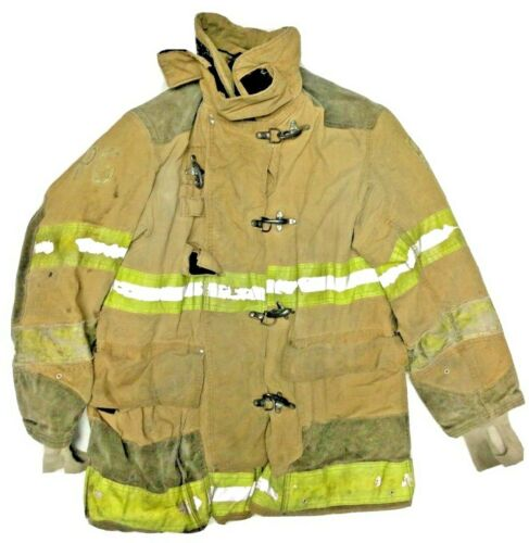 44x35 Globe Firefighter Brown Turnout Jacket Coat with Yellow Tape J909