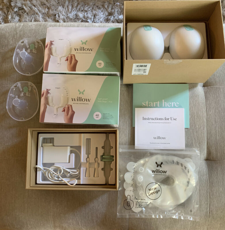 Willow Generation 3 Breast Pump W/EXTRAS-two 48 Count Spill Proof Milk Bags