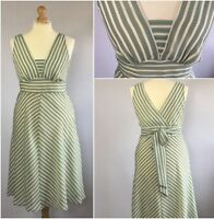 Heorge Ladies Green Cream Chiffon Stripe 50s Retro Full Skirt Dress Uk 16/18 - george - ebay.co.uk