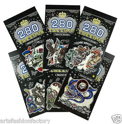 Halloween 6 Books Temporary Tattoo, Bulk 300+ Animal Tribal Tattoos for Guys (Temporary Tattoos For Halloween)