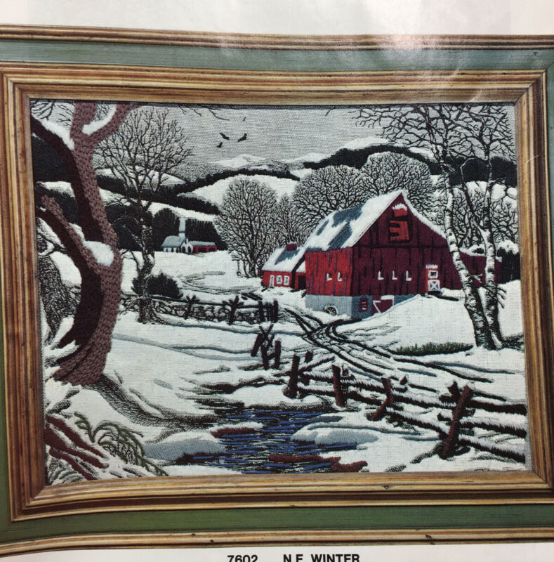 Crewel Embroidery Kit Winter Scene Red Barn Fence Vintage 11x14""