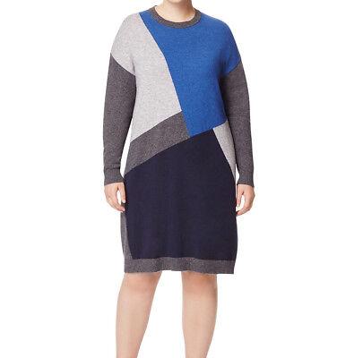 Marina Rinaldi Damen Grau Gardone Color Block Pullover Kleid $ 290 - Colorblock-pullover-kleid