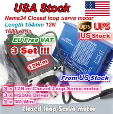 Usa3x 12n.m Nema34 Cnc Kit Servo Stepper Motor Closed Loop Hss86 Hybrid Driver