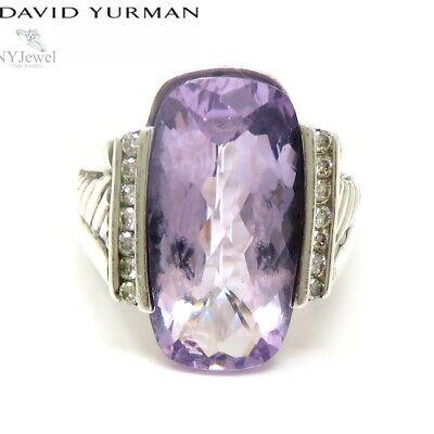 NYJEWEL David Yurman 925 Sterling Silver Amethyst Diamond Ring