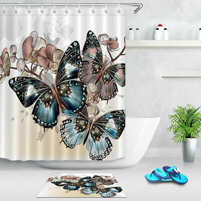 Watercolor Butterfly Flower Shower Curtain Bathroom Waterproof Fabric Hooks Set - Butterfly Bathroom